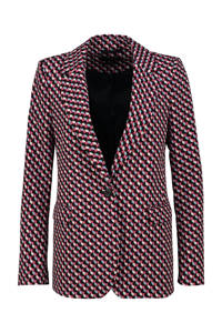 Claudia Sträter blazer met all over print rood/wit/blauw, Rood/wit/blauw