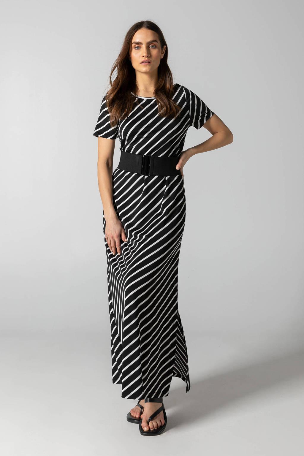 Claudia Sträter gestreepte maxi jurk zwart/wit, Zwart/wit