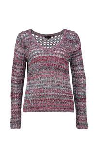 Claudia Sträter grofgebreide trui met open detail lichtblauw/fuchsia/zwart, Lichtblauw/fuchsia/zwart