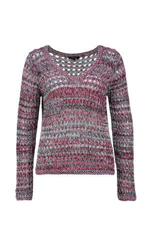grofgebreide trui met open detail lichtblauw/fuchsia/zwart