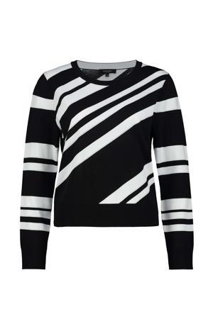 fijngebreide trui zwart/wit