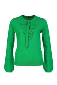 Claudia Sträter fijngebreide trui met ruches groen, Groen