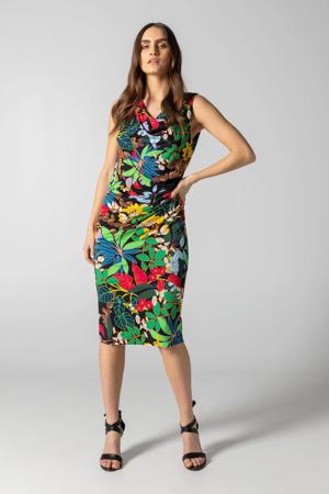 jurk met bladprint en plooien zwart/multi