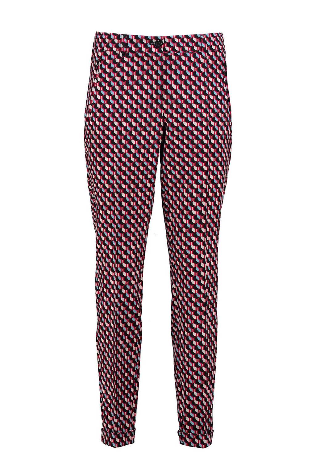 Claudia Sträter slim fit pantalon met all over print fuchsia/zwart/lichtblauw, Fuchsia/zwart/lichtblauw