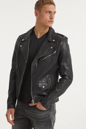 leren  jas Biker602 zwart