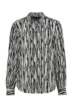 blouse Carletta met all over print ecru/donkerblauw