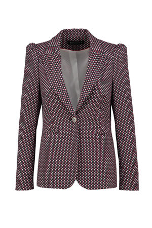 blazer Carry met all over print rood/donkerblauw/wit