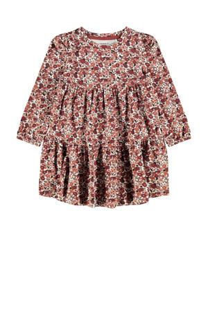 gebloemde jurk NMFOKKERI met biologisch katoen oudroze/roze/wit