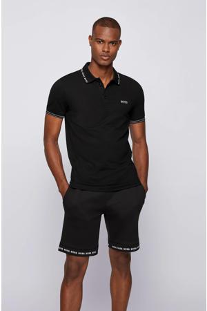 slim fit polo Paule met logo zwart