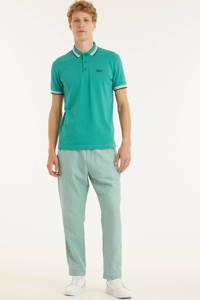 BOSS Athleisure slim fit polo Paddy met contrastbies turquoise/aqua, Turquoise/aqua