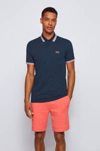 BOSS Athleisure slim fit polo Paddy met contrastbies donkerblauw, Donkerblauw