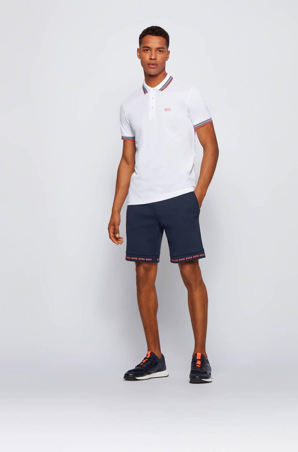 BOSS Athleisure slim fit polo Paddy met contrastbies wit/grijs/zalm, Wit/grijs/zalm