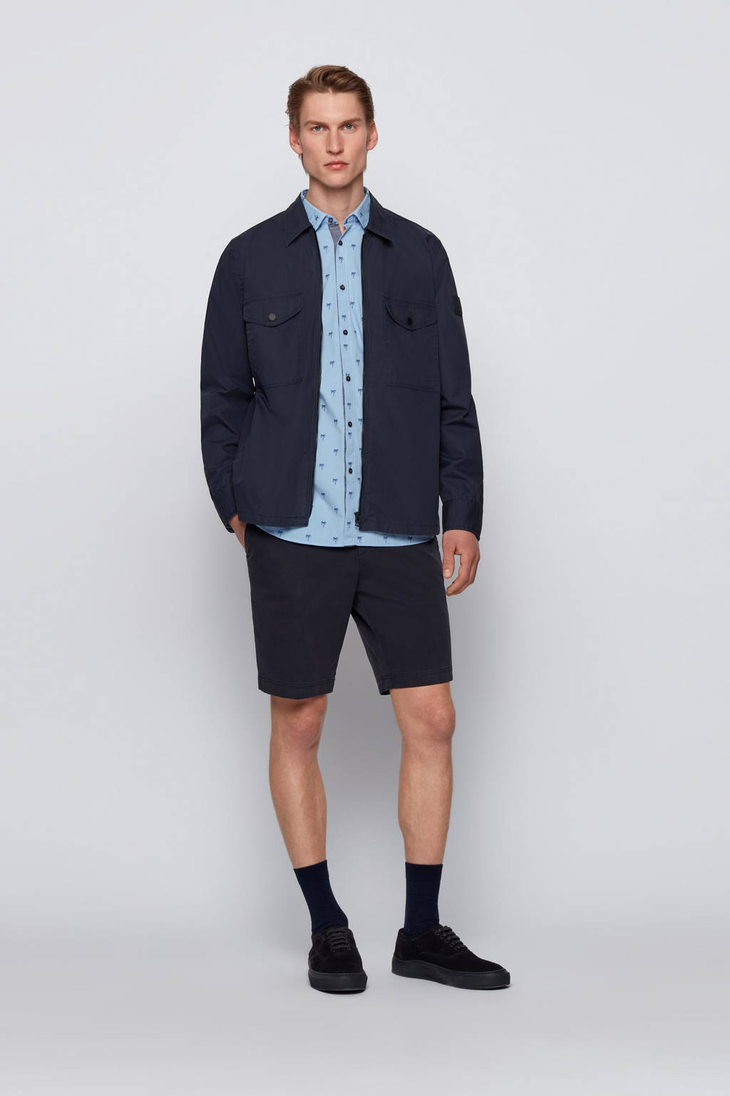 BOSS Casual slim fit overhemd Magneton met all over print lichtblauw, Lichtblauw