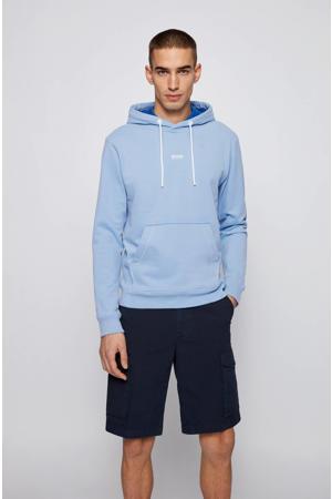 hoodie Weedo met logo lichtblauw