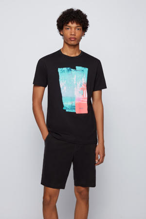 T-shirt Tepastel met printopdruk zwart