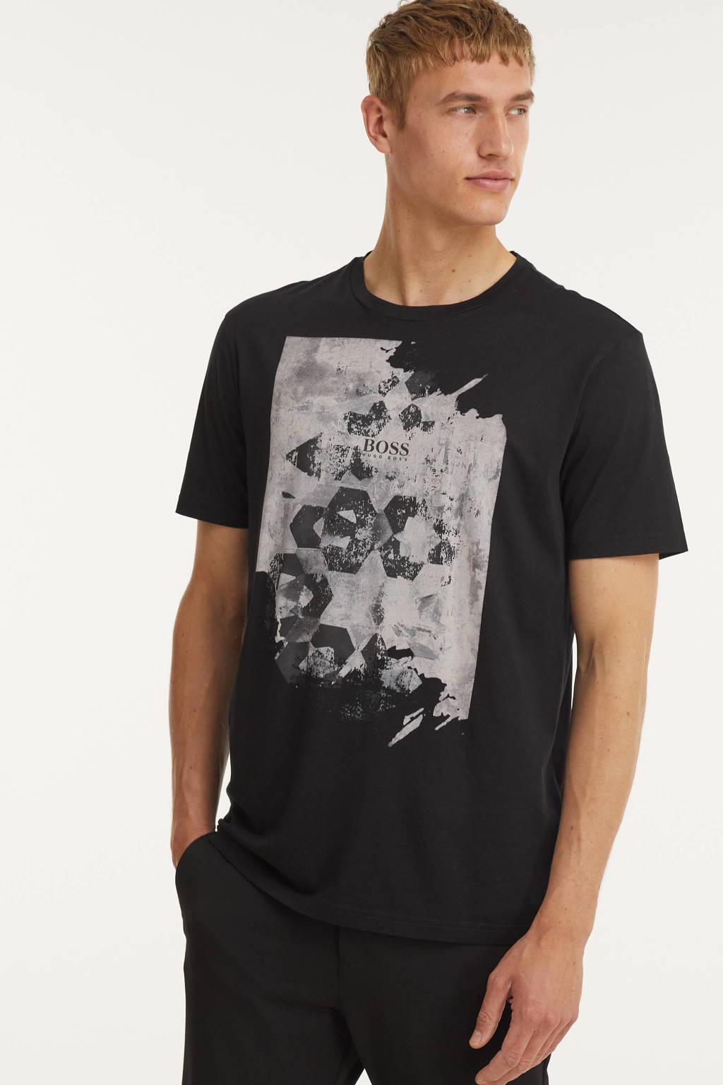 BOSS Casual T-shirt met printopdruk zwart, Zwart