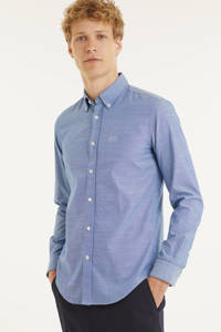 BOSS Menswear gemêleerd regular fit overhemd blauw, Blauw