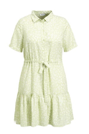 blousejurk met all over print en volant lichtgroen