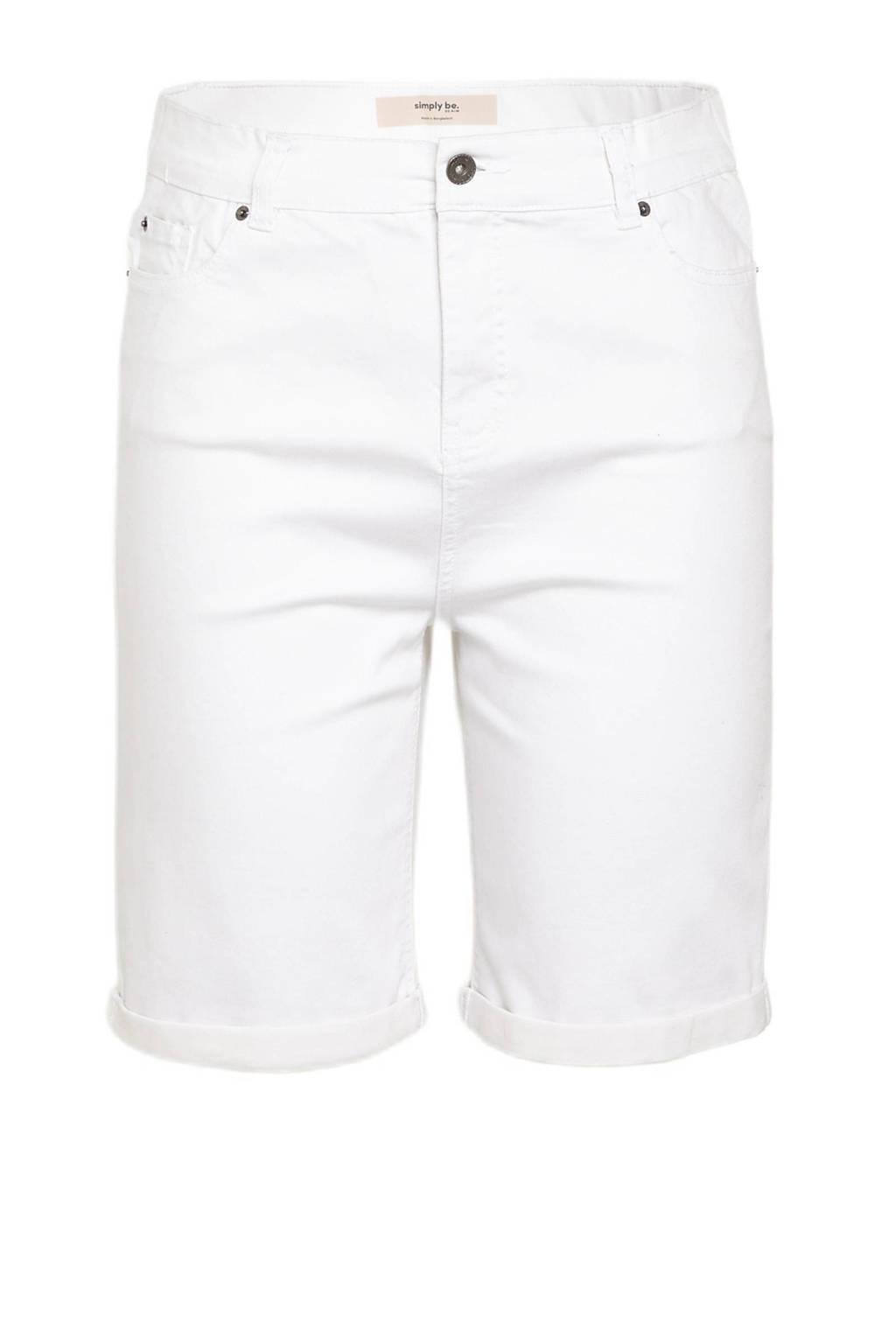 Simply Be jeans short met biologisch katoen wit, Wit
