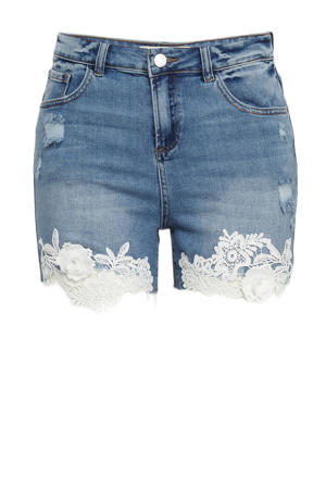 jeans short light denim/wit