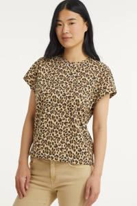 ONLY T-shirt met panterprint bruin, Bruin