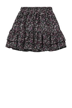 gebloemde rok Celsa zwart/roze