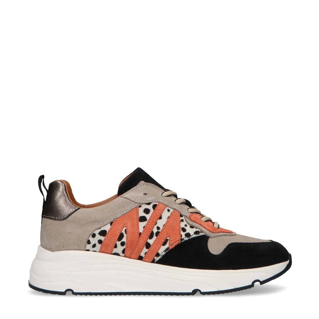 Manfield   suède sneakers met dierenprint zwart/beige, Zwart/beige