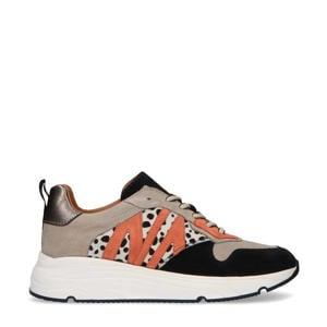 suède sneakers met dierenprint zwart/beige