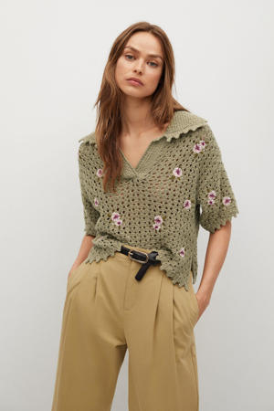 crochet trui met bloemen kaki-beige