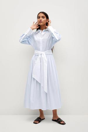 gestreepte blousejurk ecru/lichtblauw