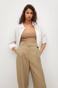 Mango cropped high waist loose fit broek middenbruin, Middenbruin