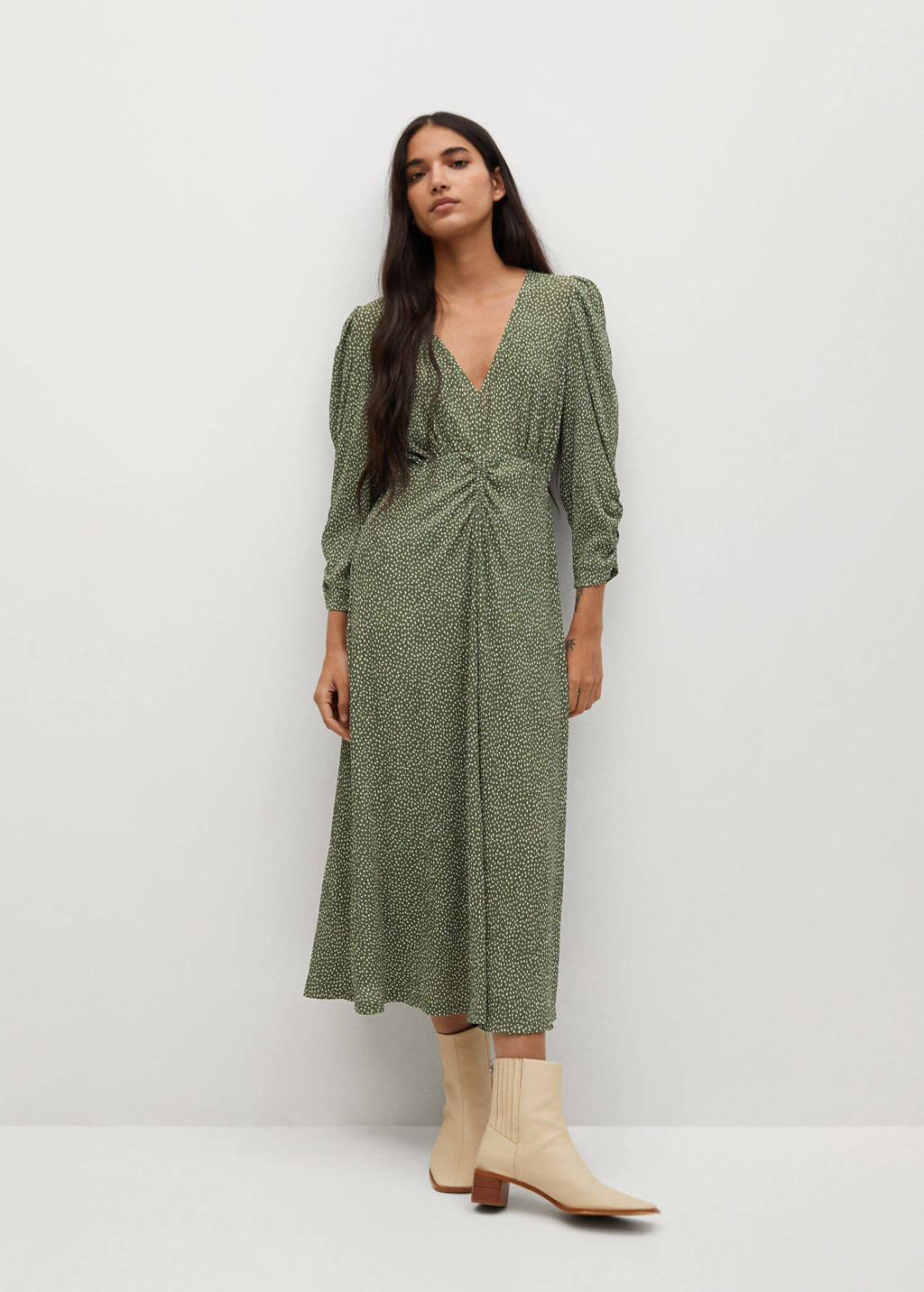 Mango jurk met all over print en plooien groen/ creme