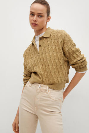 cropped high waist flared jeans lichtbeige