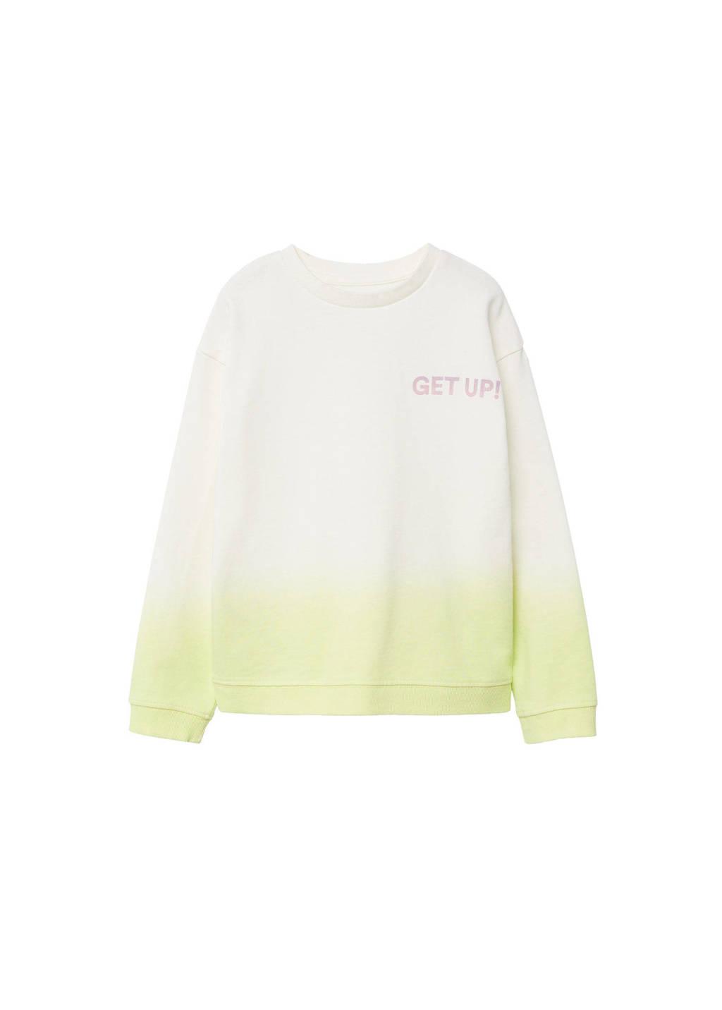 Mango Kids dip-dye sweater geel/offwhite, Geel/offwhite