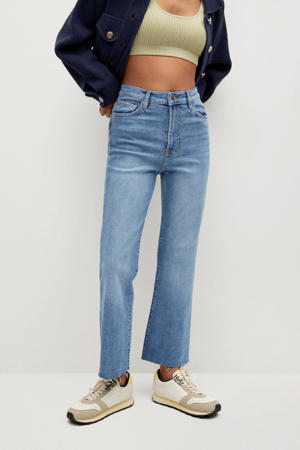cropped high waist flared jeans light blue denim