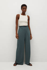 Mango high waist straight fit broek groenblauw, Groenblauw