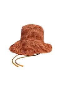 Mango gehaakte hoed brique, Brique