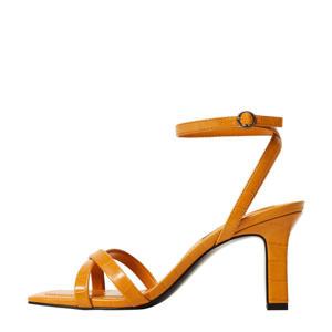 sandalettes met crocoprint geel