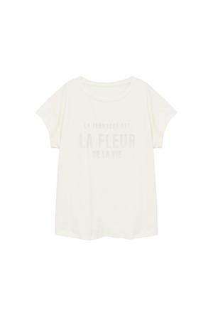 T-shirt met tekstopdruk beige