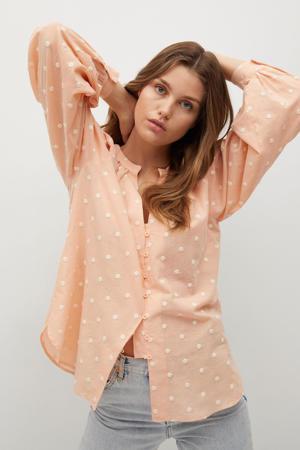 blouse zalm/wit