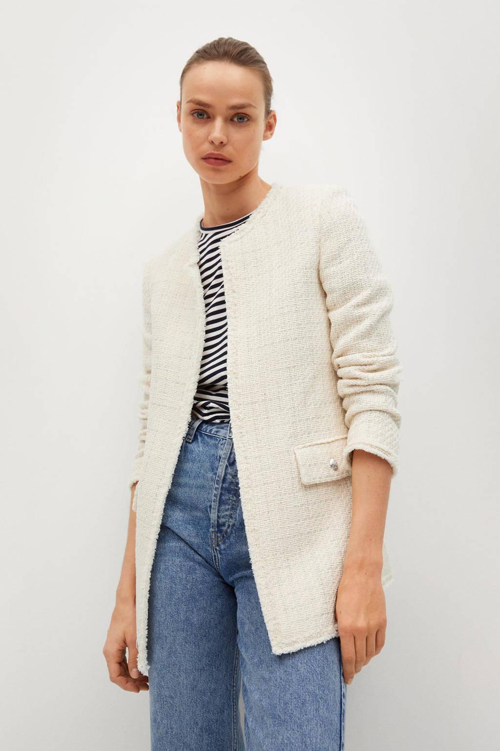 Mango tweed blazer beige, Beige