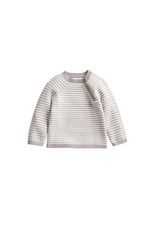 baby gestreepte fijngebreide trui met biologisch katoen grijs/wit