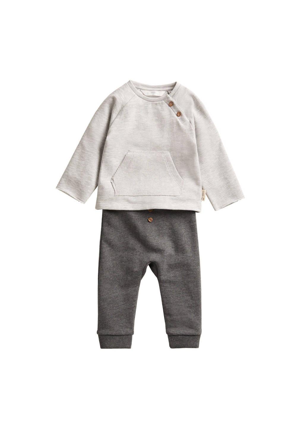 Mango Kids baby broek + sweater van biologisch katoen grijs/lichtgrijs, Grijs/lichtgrijs