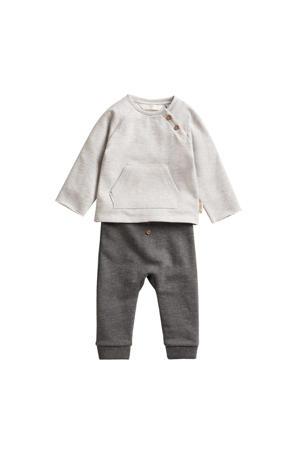baby broek + sweater van biologisch katoen grijs/lichtgrijs