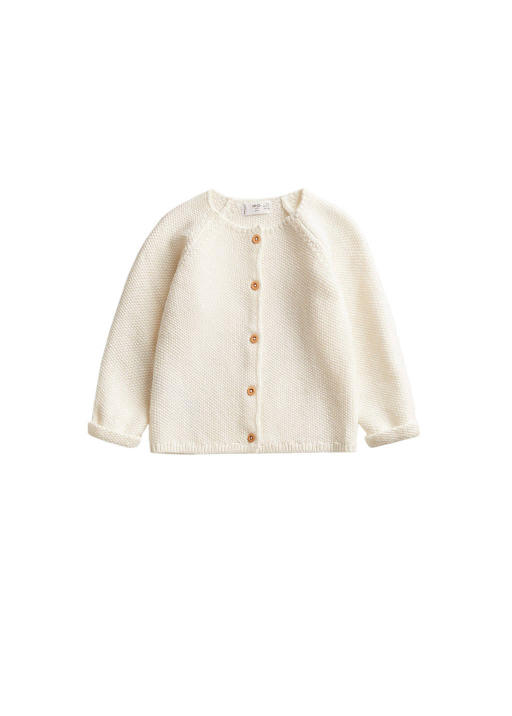 Mango Kids fijn gebreid baby vest naturel wit