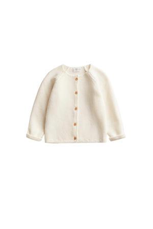 fijn gebreid baby vest naturel wit