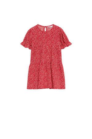 gebloemde jurk van gerecycled polyester rood/wit