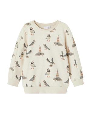 sweater NMMOSKAR met dierenprint beige