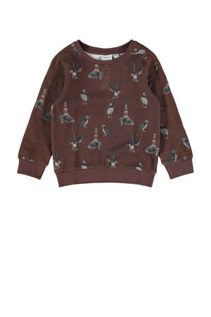 sweater NMMOSKAR met dierenprint donkerbruin