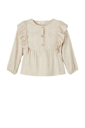 blouse NMFEIVOR van biologisch katoen beige
